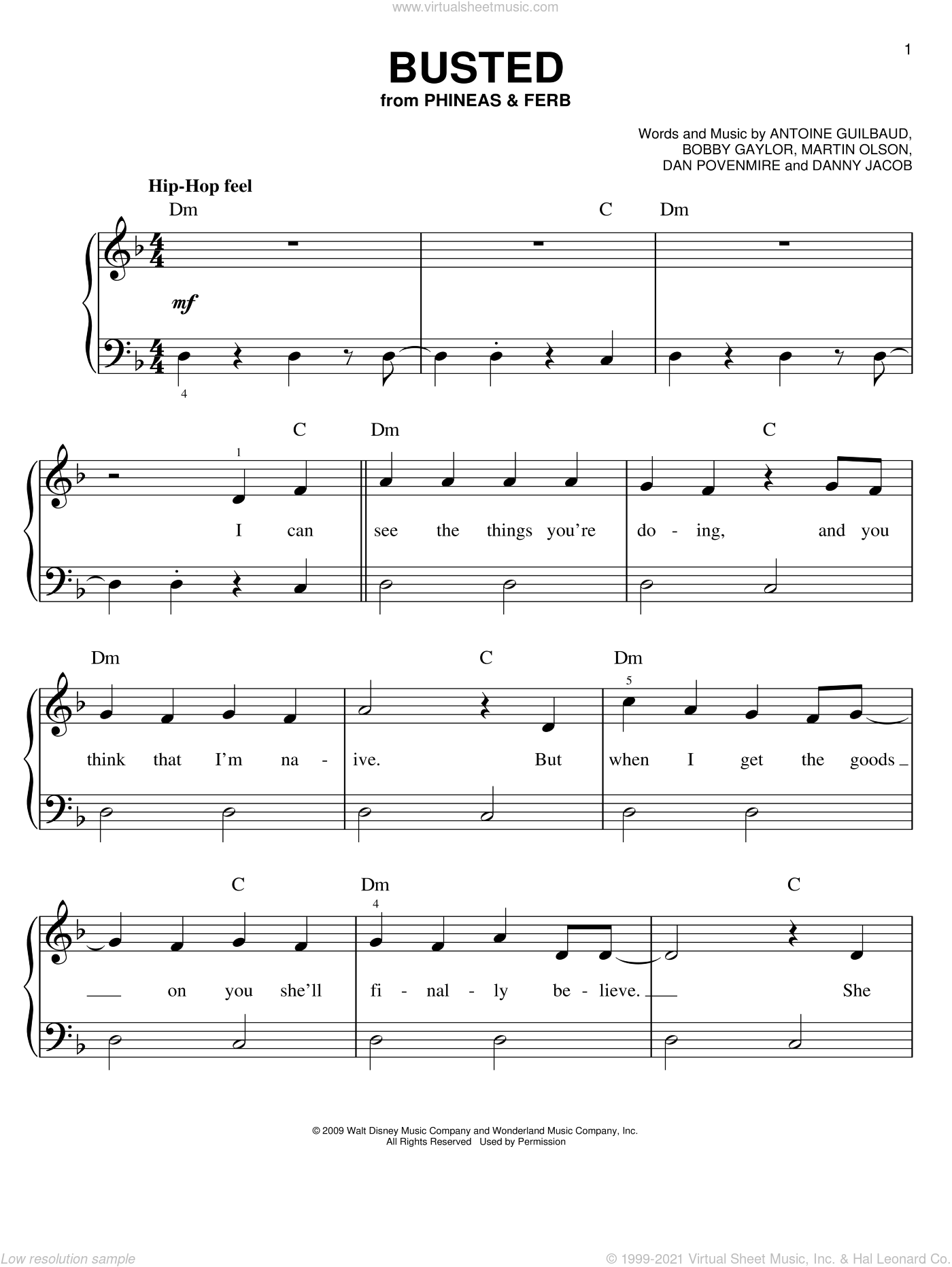 Busted sheet music for piano solo by Danny Jacob, Phineas And Ferb, Antoine Guilbaud, Bobby Gaylor, Dan Povenmire and Martin Olson, easy skill level