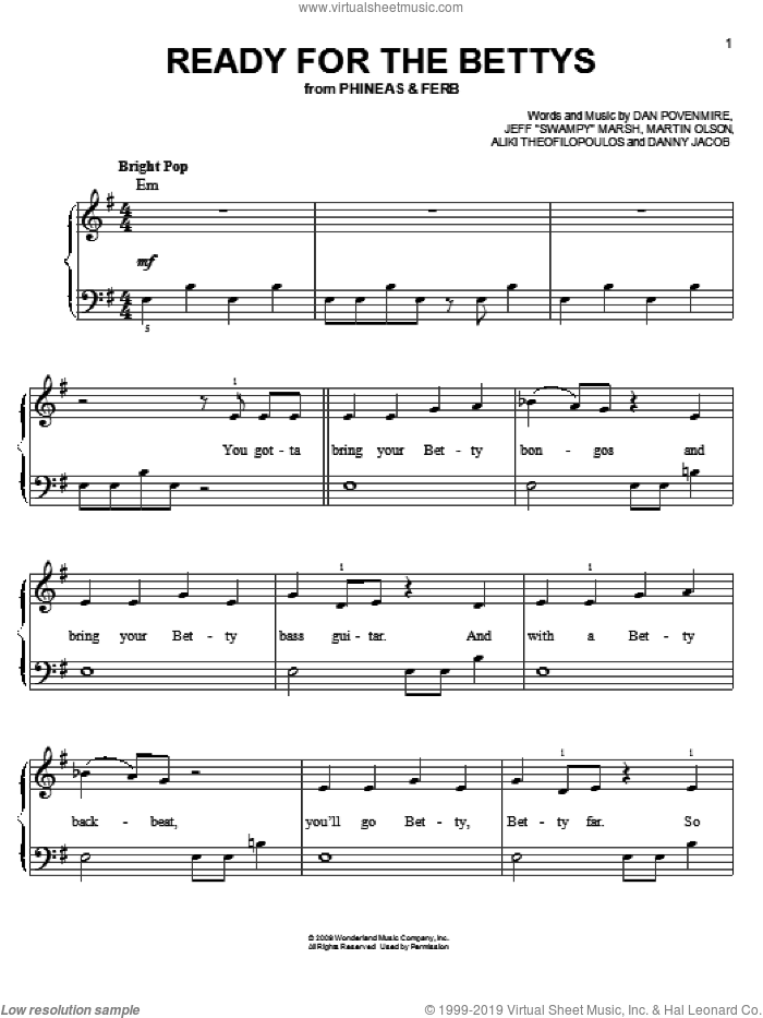 Ready For The Bettys sheet music for piano solo by Danny Jacob, Phineas And Ferb, Aliki Theophilopoulos, Dan Povenmire, Jeff 'Swampy' Marsh and Martin Olson, easy