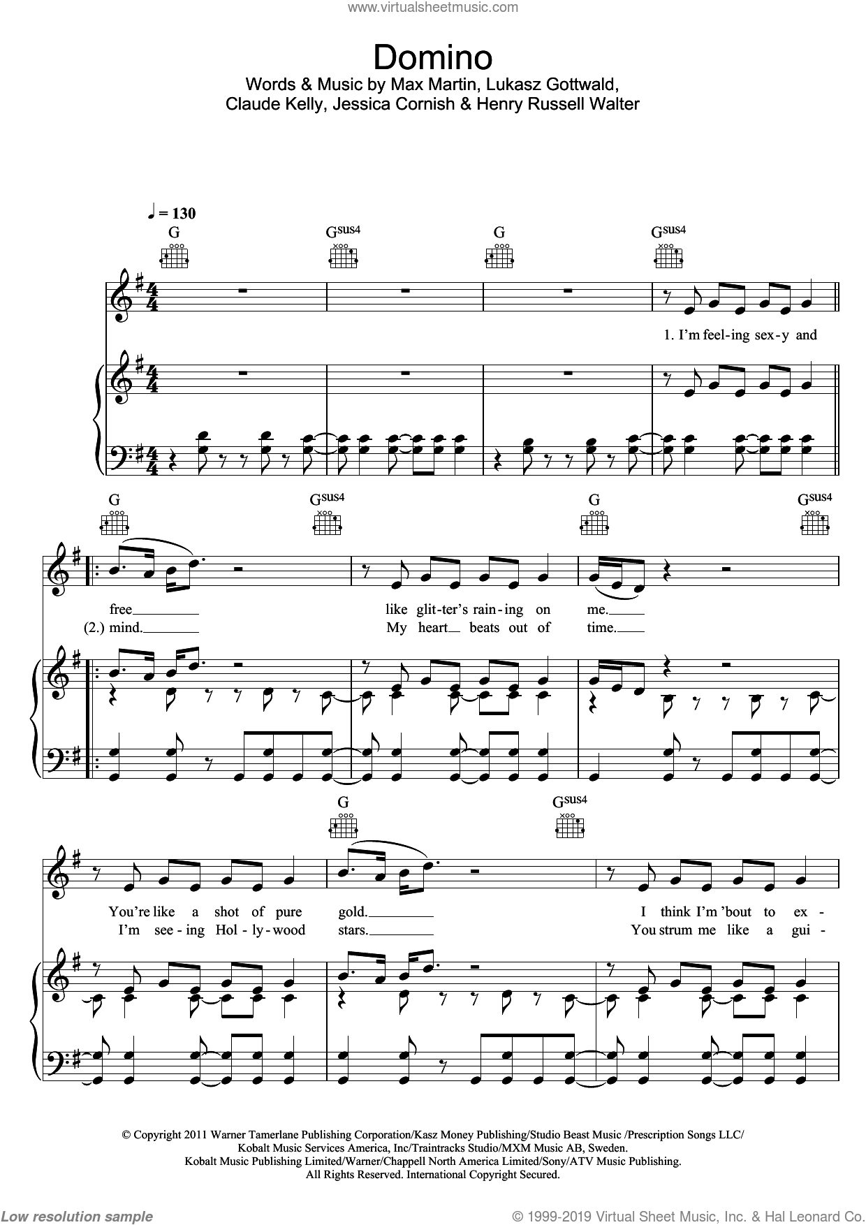 Domino sheet music for voice, piano or guitar by Jessie J, Claude Kelly, Henry Russell Walter, Jessica Cornish, Lukasz Gottwald and Max Martin, intermediate skill level