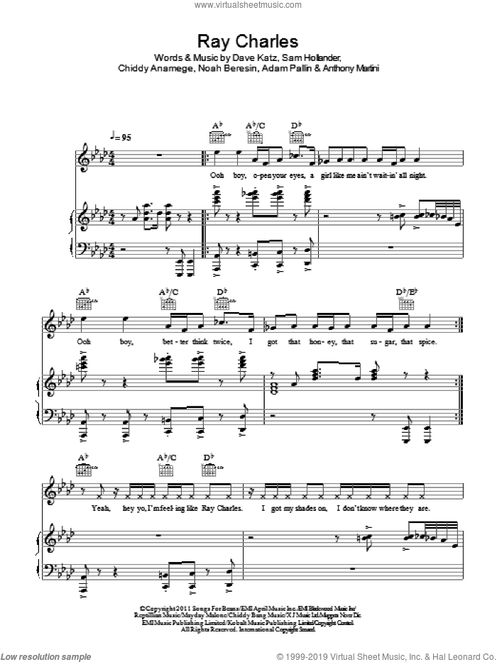 Ray Charles sheet music for voice, piano or guitar by Sam Hollander. Score Image Preview.