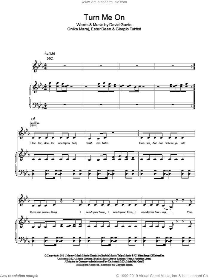 Turn Me On sheet music for voice, piano or guitar by David Guetta featuring Nicki Minaj, David Guetta, Ester Dean, Giorgio Tuinfort and Onika Maraj, intermediate skill level