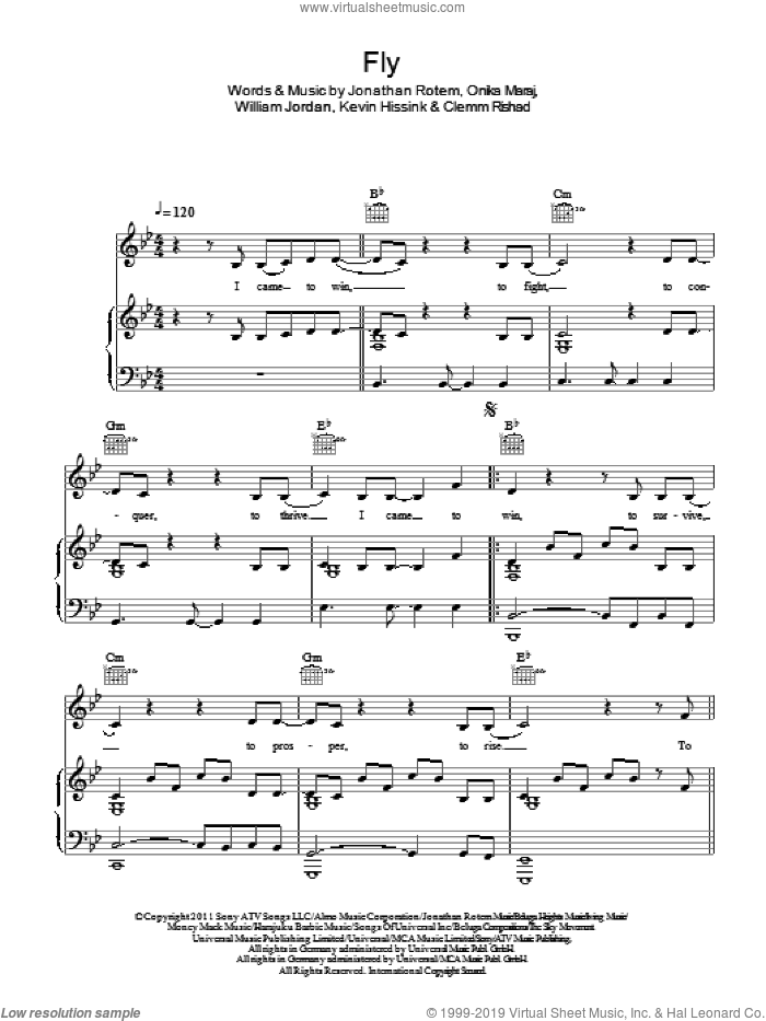 Fly sheet music for voice, piano or guitar by Nicki Minaj featuring Rihanna, Clemm Rishad, Jonathan Rotem, Kevin Hissink, Onika Maraj and William Jordan, intermediate skill level