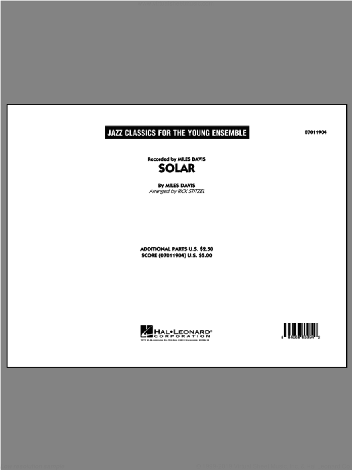 Solar (COMPLETE) sheet music for jazz band by Miles Davis and Rick Stitzel, intermediate skill level