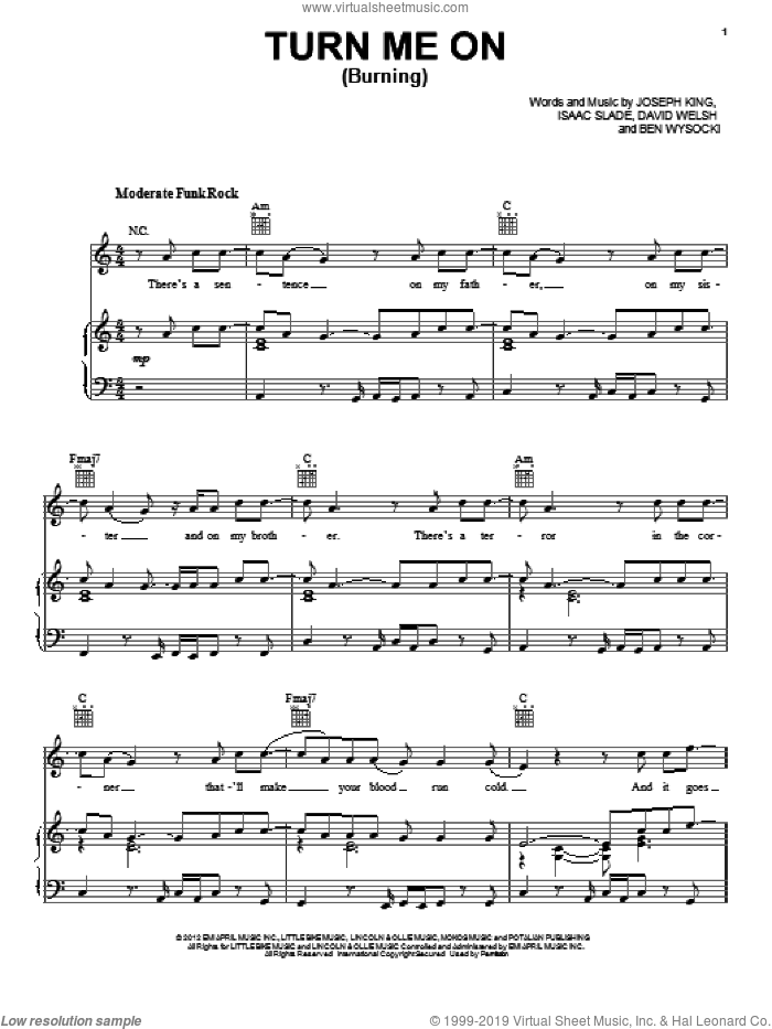 Turn Me On (Burning) sheet music for voice, piano or guitar by The Fray, intermediate. Score Image Preview.