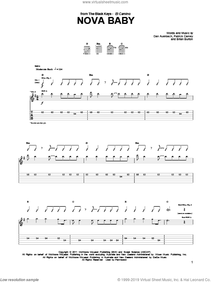 Nova Baby sheet music for guitar (tablature) by Patrick Carney, Brian Burton and Daniel Auerbach. Score Image Preview.