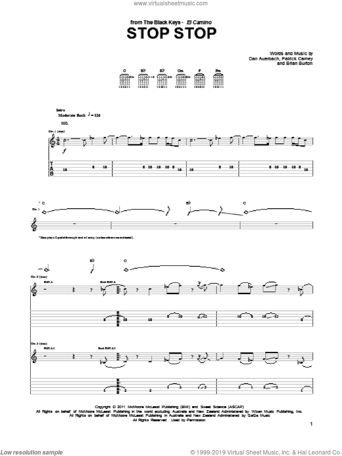 Stop Stop sheet music for guitar (tablature) by The Black Keys, Brian Burton, Daniel Auerbach and Patrick Carney, intermediate skill level