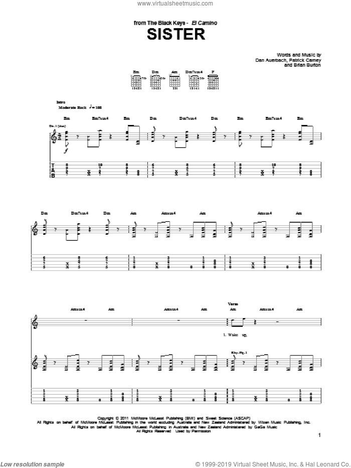 Sister sheet music for guitar (tablature) by Patrick Carney, Brian Burton and Daniel Auerbach. Score Image Preview.