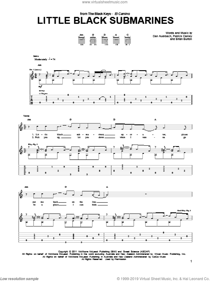 Little Black Submarines sheet music for guitar (tablature) by Patrick Carney, Brian Burton and Daniel Auerbach. Score Image Preview.