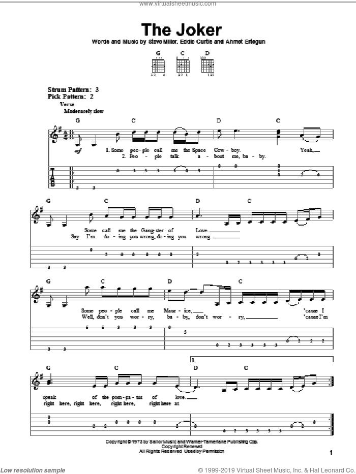 The Joker sheet music for guitar solo (easy tablature) by Steve Miller Band, Ahmet Ertegun, Eddie Curtis and Steve Miller, easy guitar (easy tablature)