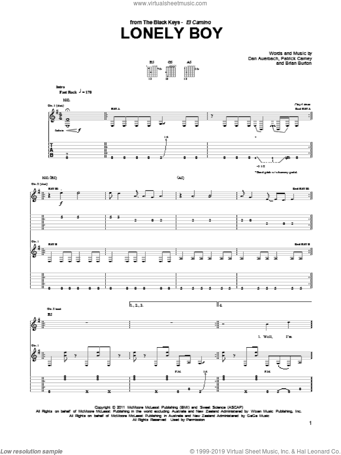 Lonely Boy sheet music for guitar (tablature) by The Black Keys and Daniel Auerbach, intermediate. Score Image Preview.