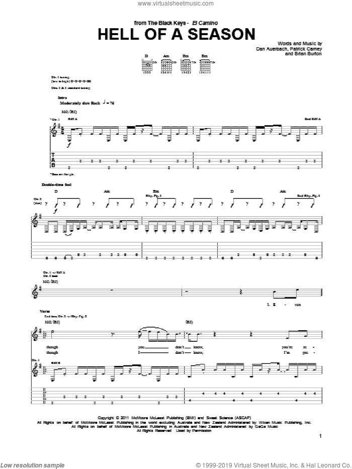 Hell Of A Season sheet music for guitar (tablature) by The Black Keys and Daniel Auerbach, intermediate guitar (tablature). Score Image Preview.