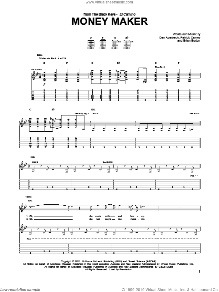 Money Maker sheet music for guitar (tablature) by The Black Keys, Brian Burton, Daniel Auerbach and Patrick Carney, intermediate. Score Image Preview.