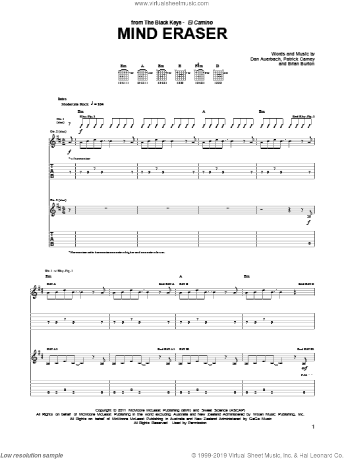 Mind Eraser sheet music for guitar (tablature) by The Black Keys and Daniel Auerbach. Score Image Preview.