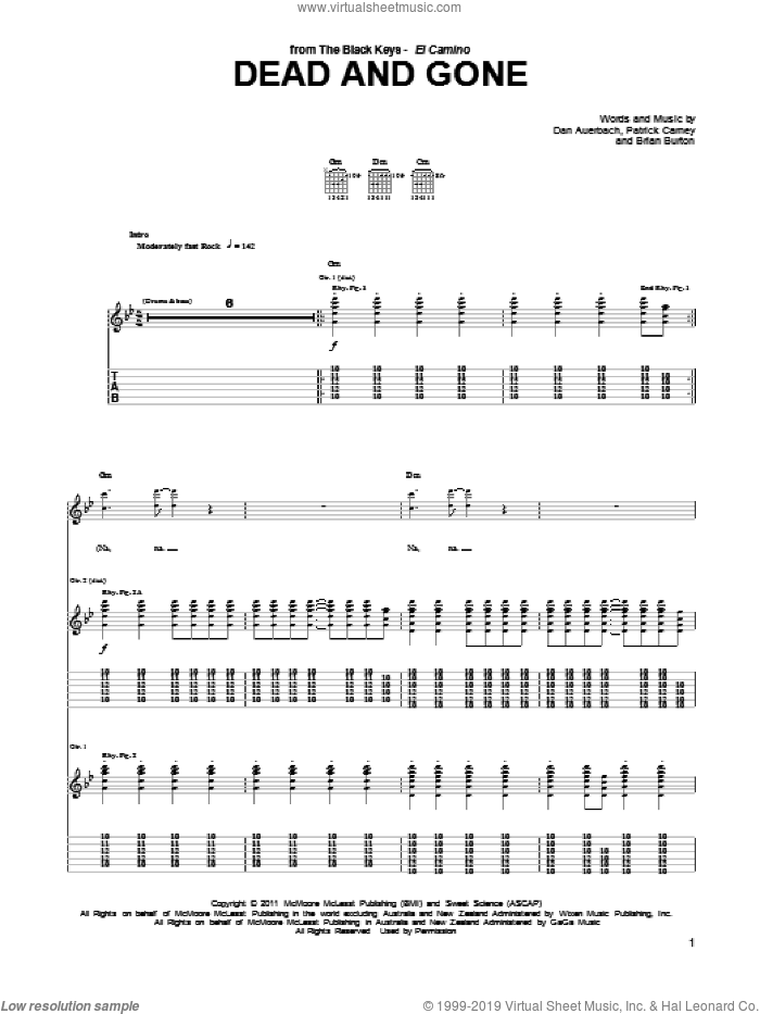 Dead And Gone sheet music for guitar (tablature) by Patrick Carney, Brian Burton and Daniel Auerbach. Score Image Preview.