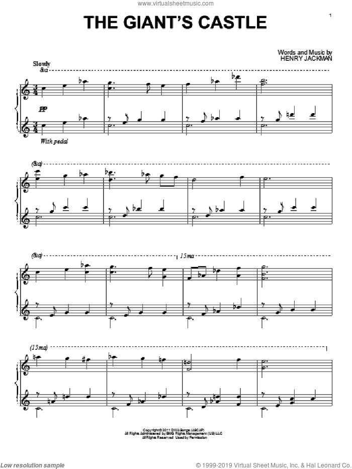 The Giant's Castle sheet music for piano solo by Henry Jackman. Score Image Preview.