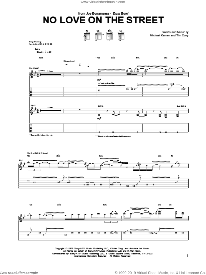 No Love On The Street sheet music for guitar (tablature) by Joe Bonamassa and Michael Kamen, intermediate. Score Image Preview.