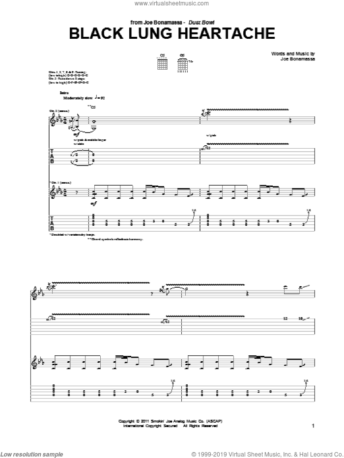 Black Lung Heartache sheet music for guitar (tablature) by Joe Bonamassa, intermediate. Score Image Preview.