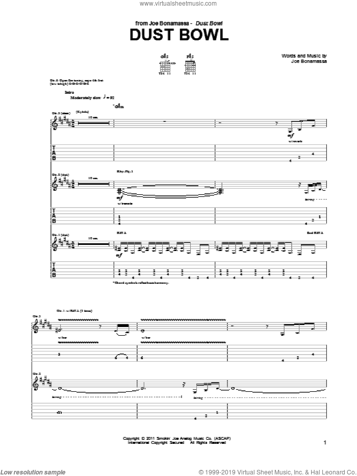 Dust Bowl sheet music for guitar (tablature) by Joe Bonamassa, intermediate guitar (tablature). Score Image Preview.