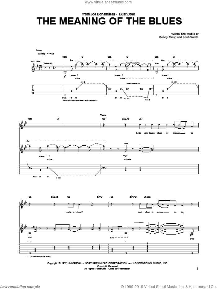 The Meaning Of The Blues sheet music for guitar (tablature) by Leah Worth