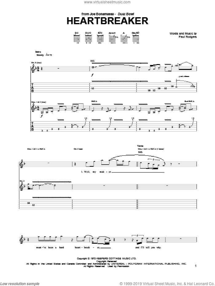 Heartbreaker sheet music for guitar (tablature) by Paul Rodgers and Joe Bonamassa. Score Image Preview.