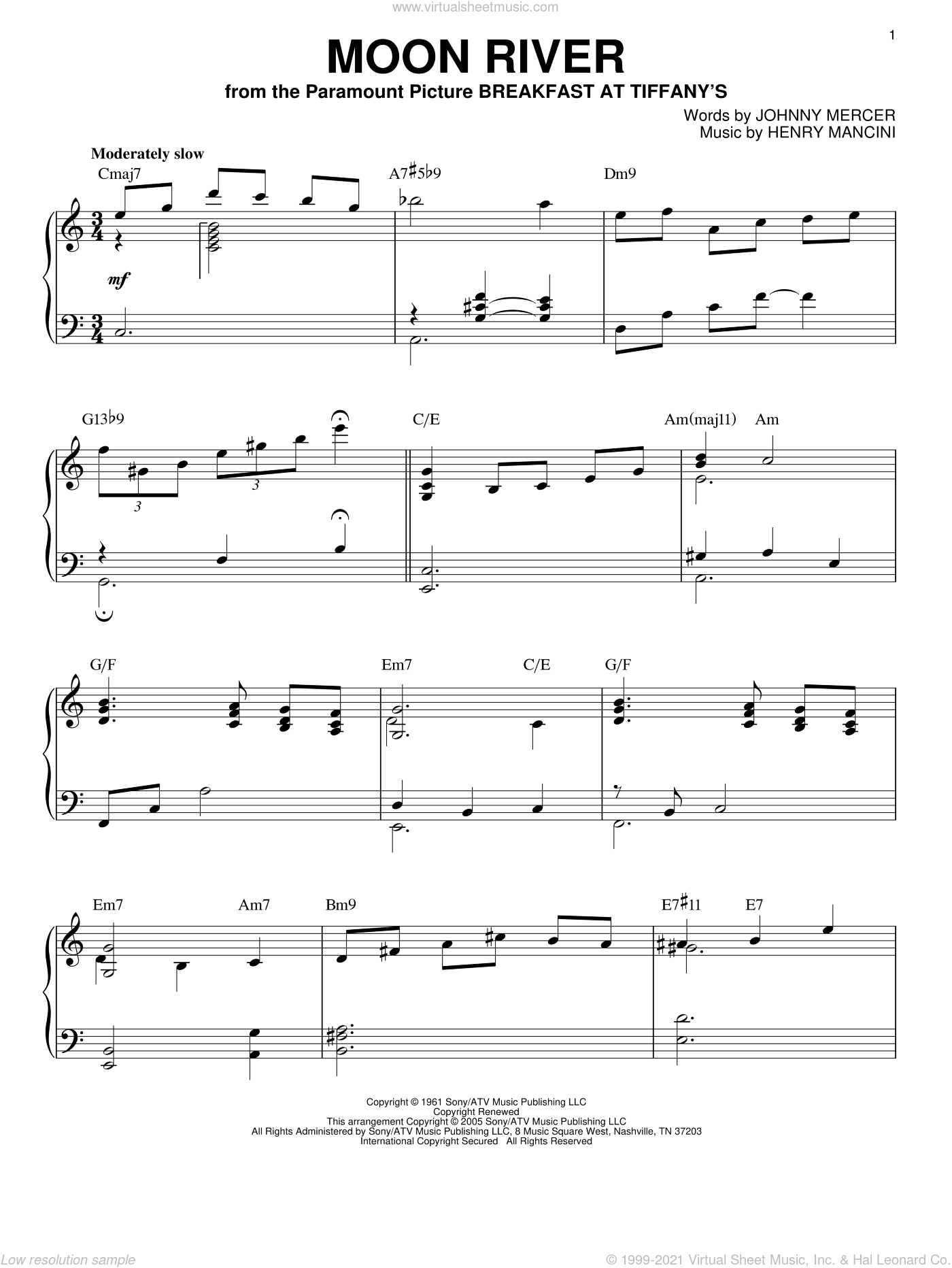 Moon River sheet music for piano solo by Henry Mancini, Andy Williams and Johnny Mercer, wedding score, intermediate skill level