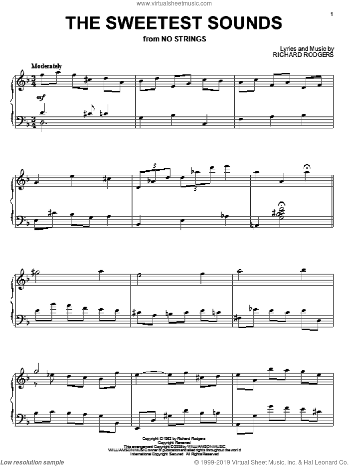 The Sweetest Sounds sheet music for piano solo by Richard Rodgers, wedding score, intermediate piano. Score Image Preview.