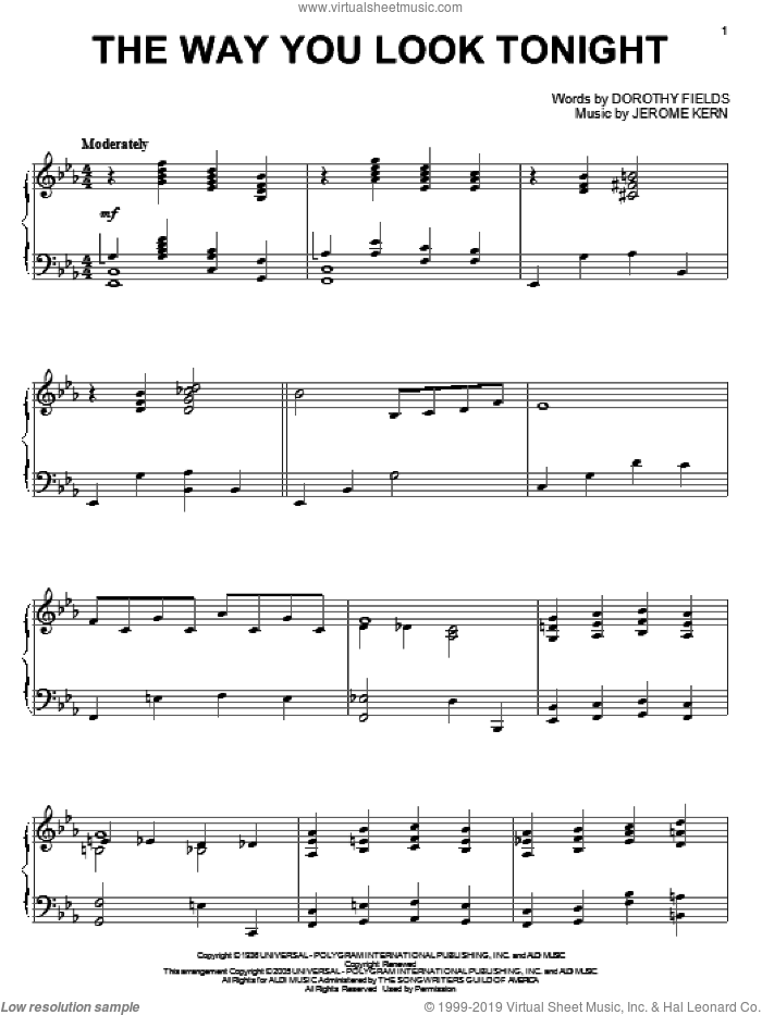 The Way You Look Tonight sheet music for piano solo by Dorothy Fields