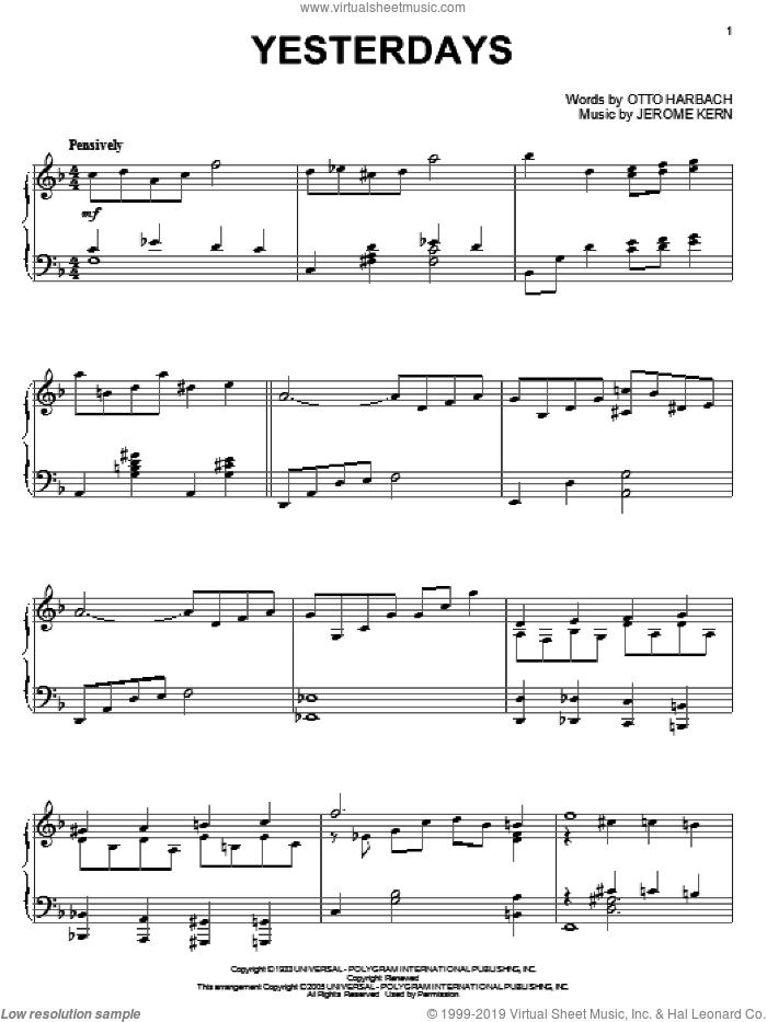Yesterdays sheet music for piano solo by Miles Davis, Billie Holiday, Chet Atkins, Erroll Garner, Stan Getz, Stan Kenton, Jerome Kern and Otto Harbach, intermediate skill level