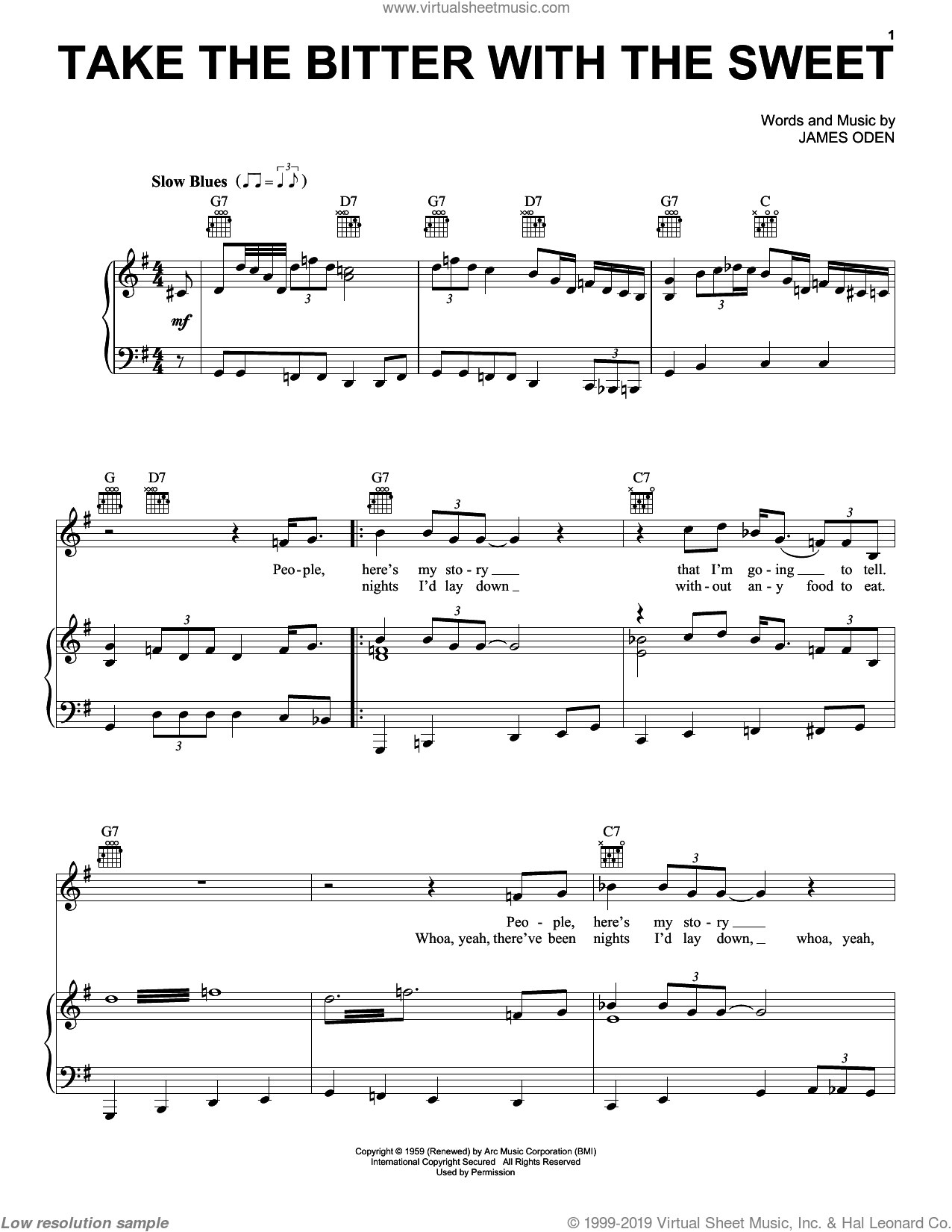 Take The Bitter With The Sweet sheet music for voice, piano or guitar by Muddy Waters and James Oden, intermediate skill level
