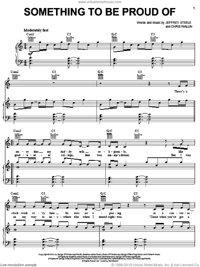 Something To Be Proud Of sheet music for voice, piano or guitar by Montgomery Gentry and Chris Wallin. Score Image Preview.