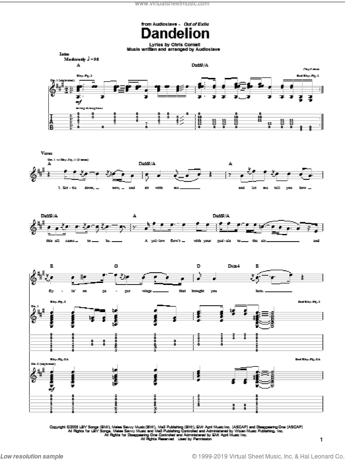 Dandelion sheet music for guitar (tablature) by Audioslave and Chris Cornell, intermediate skill level