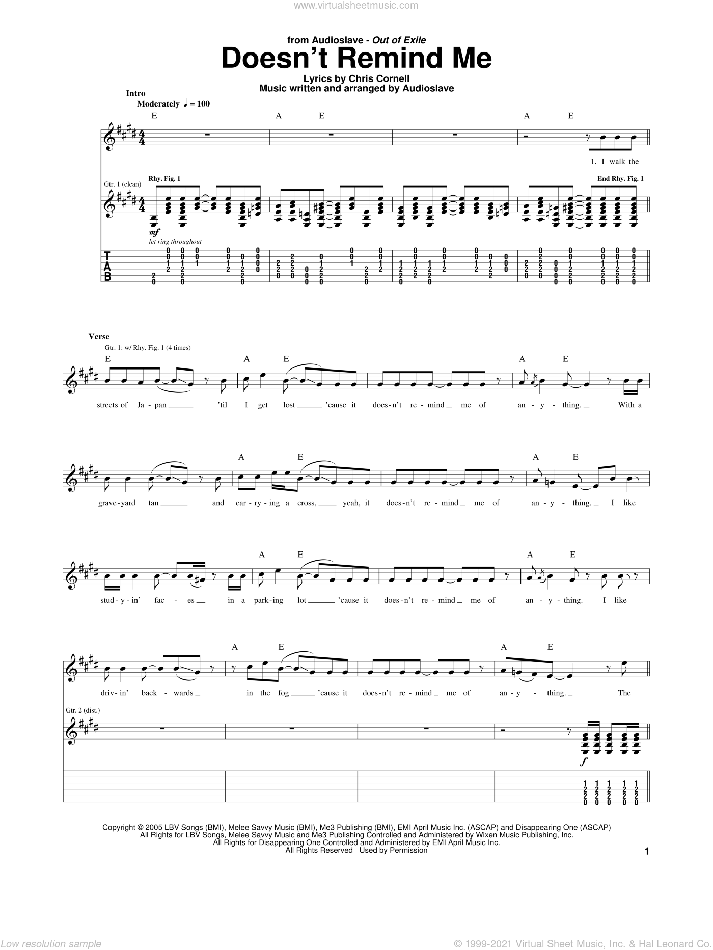 Doesn't Remind Me sheet music for guitar (tablature) by Audioslave and Chris Cornell, intermediate. Score Image Preview.