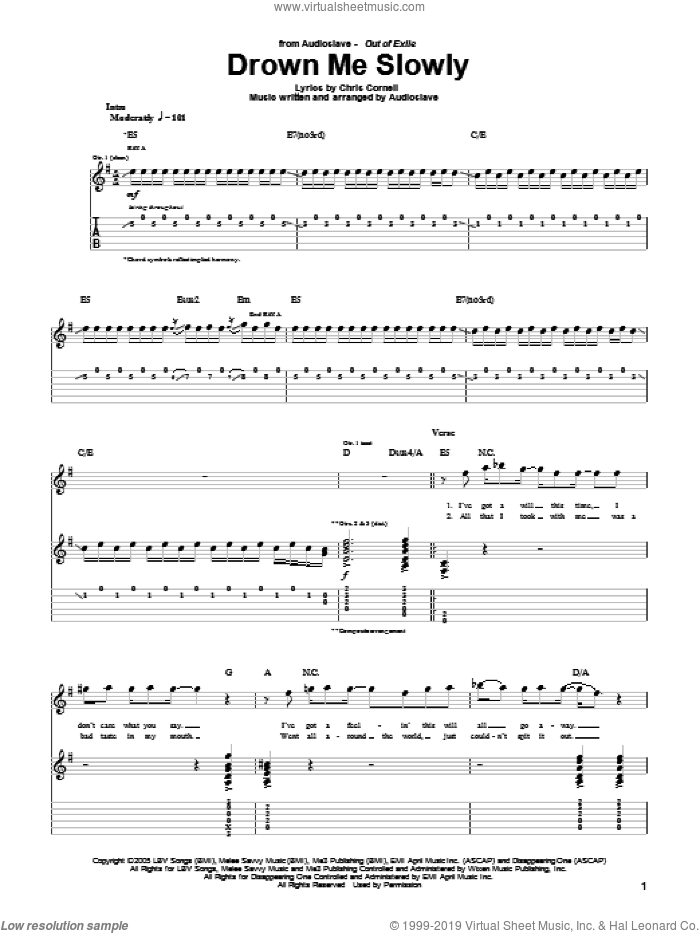 Drown Me Slowly sheet music for guitar (tablature) by Audioslave and Chris Cornell, intermediate skill level