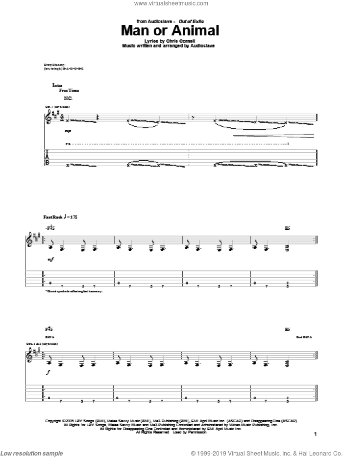 Man Or Animal sheet music for guitar (tablature) by Audioslave and Chris Cornell. Score Image Preview.