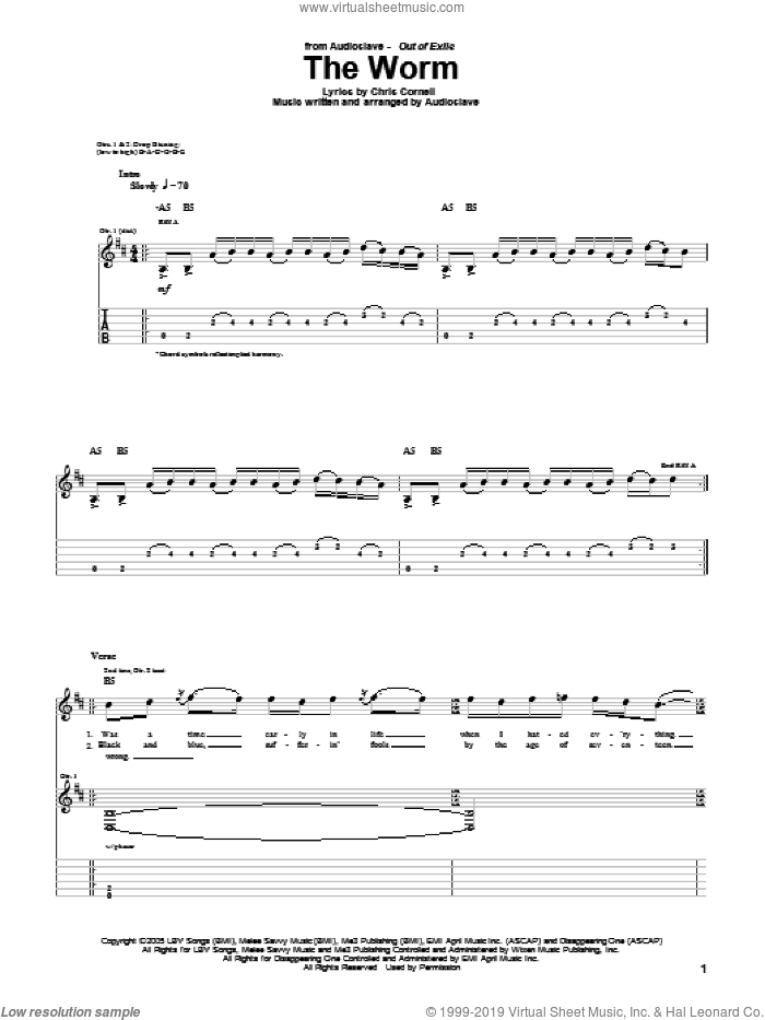 The Worm sheet music for guitar (tablature) by Chris Cornell