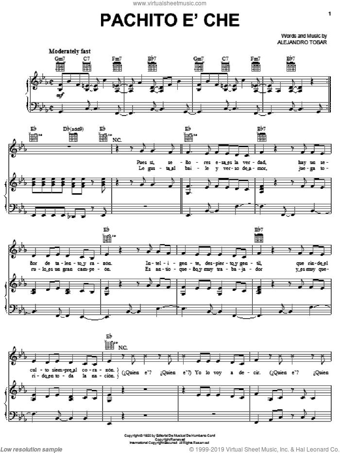 Pachito e' Che sheet music for voice, piano or guitar by Celia Cruz and Alejandro Tobar, intermediate skill level