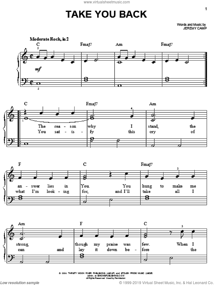 Take You Back sheet music for piano solo by Jeremy Camp, easy skill level