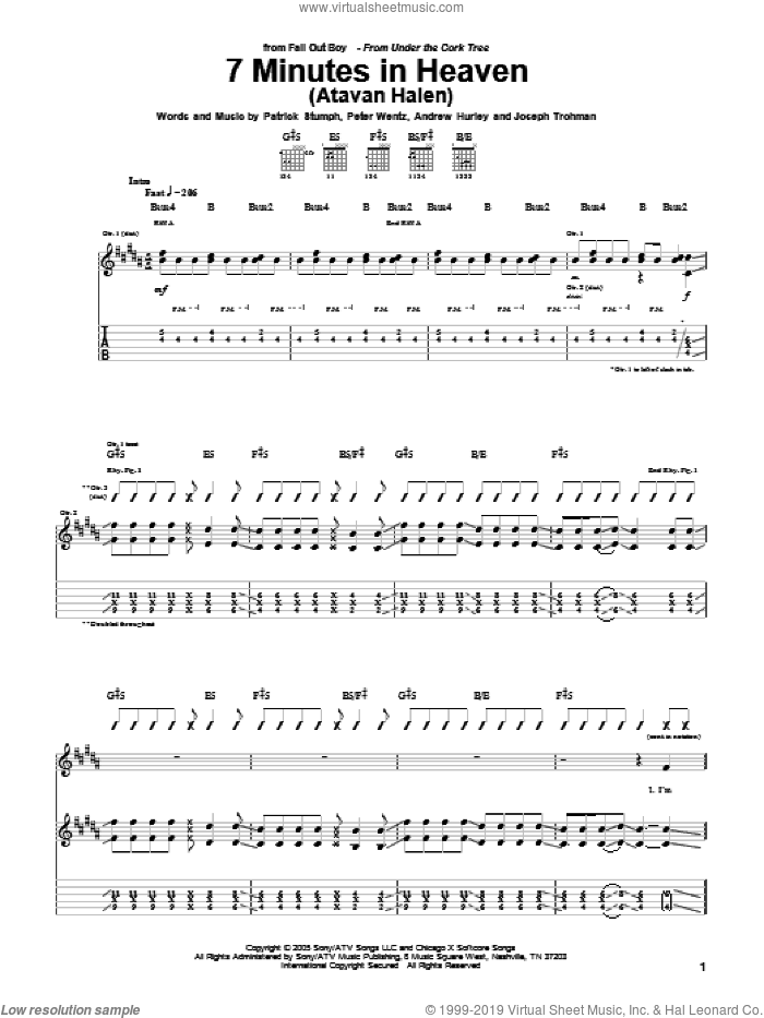 7 Minutes In Heaven (Atavan Halen) sheet music for guitar (tablature) by Peter Wentz, Fall Out Boy and Andrew Hurley. Score Image Preview.