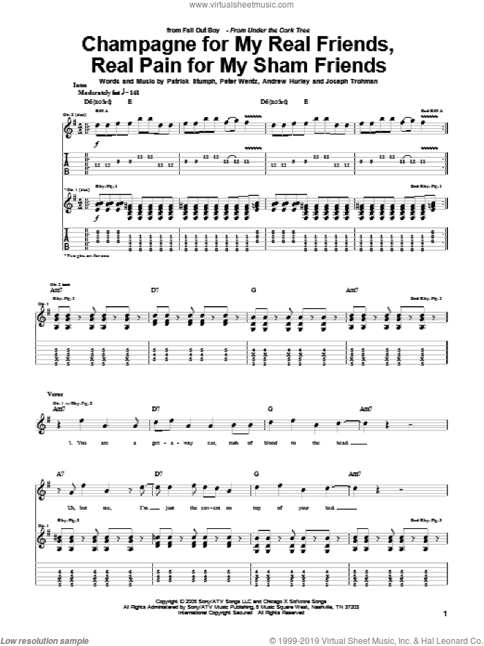 Champagne For My Real Friends, Real Pain For My Sham Friends sheet music for guitar (tablature) by Fall Out Boy, Andrew Hurley, Joseph Trohman, Patrick Stumph and Peter Wentz, intermediate