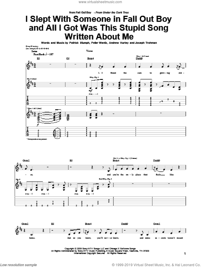 I Slept With Someone In Fall Out Boy And All I Got Was This Stupid Song Written About Me sheet music for guitar (tablature) by Fall Out Boy, intermediate guitar (tablature). Score Image Preview.