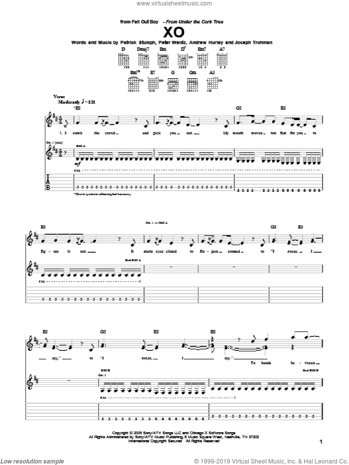 XO sheet music for guitar (tablature) by Fall Out Boy, Andrew Hurley, Joseph Trohman, Patrick Stumph and Peter Wentz, intermediate skill level
