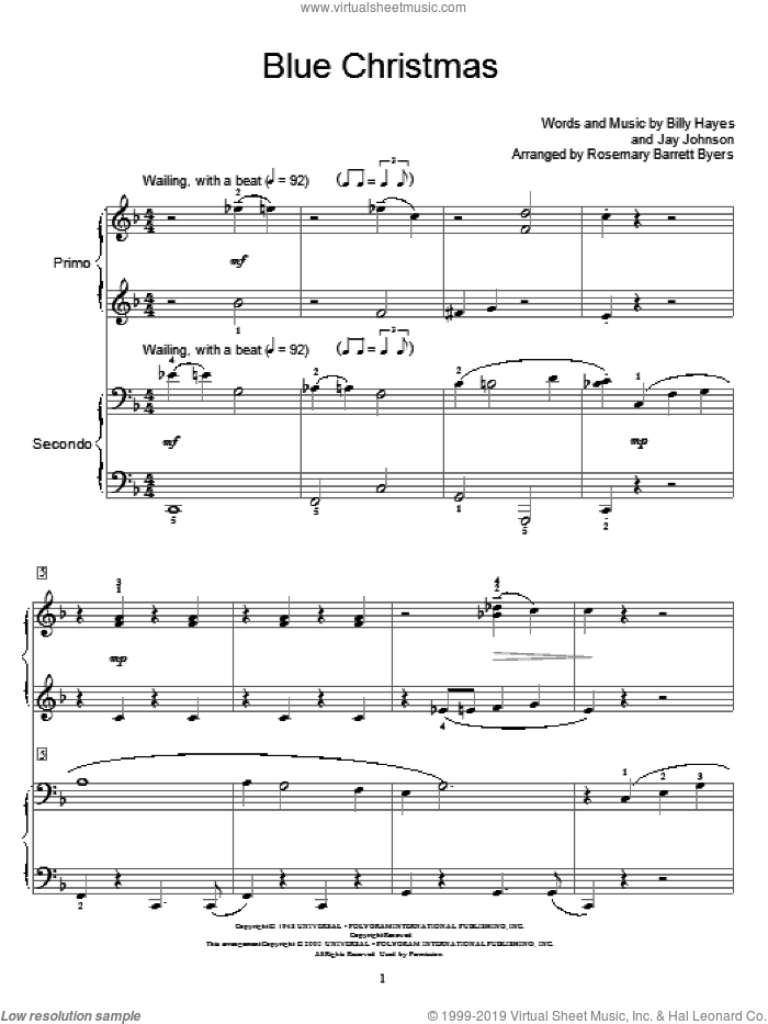 Blue Christmas sheet music for piano four hands by Elvis Presley, Miscellaneous, Billy Hayes and Jay Johnson, intermediate skill level
