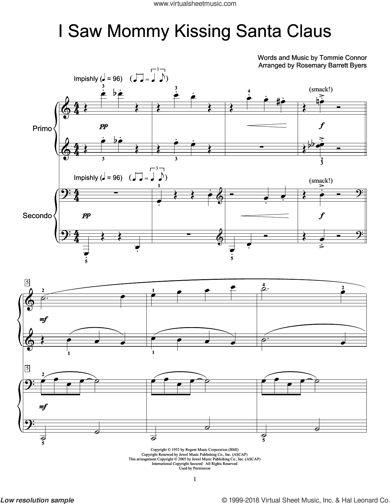 I Saw Mommy Kissing Santa Claus sheet music for piano four hands by Tommie Connor and Miscellaneous, intermediate skill level