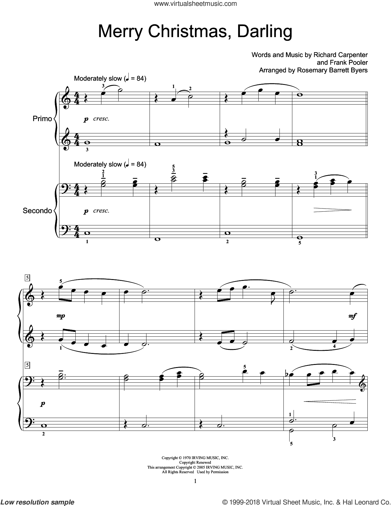 Merry Christmas, Darling sheet music for piano four hands by Carpenters, Miscellaneous, Frank Pooler and Richard Carpenter, intermediate skill level