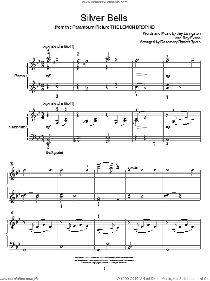 Silver Bells sheet music for piano four hands by Jay Livingston, Miscellaneous and Ray Evans, intermediate skill level