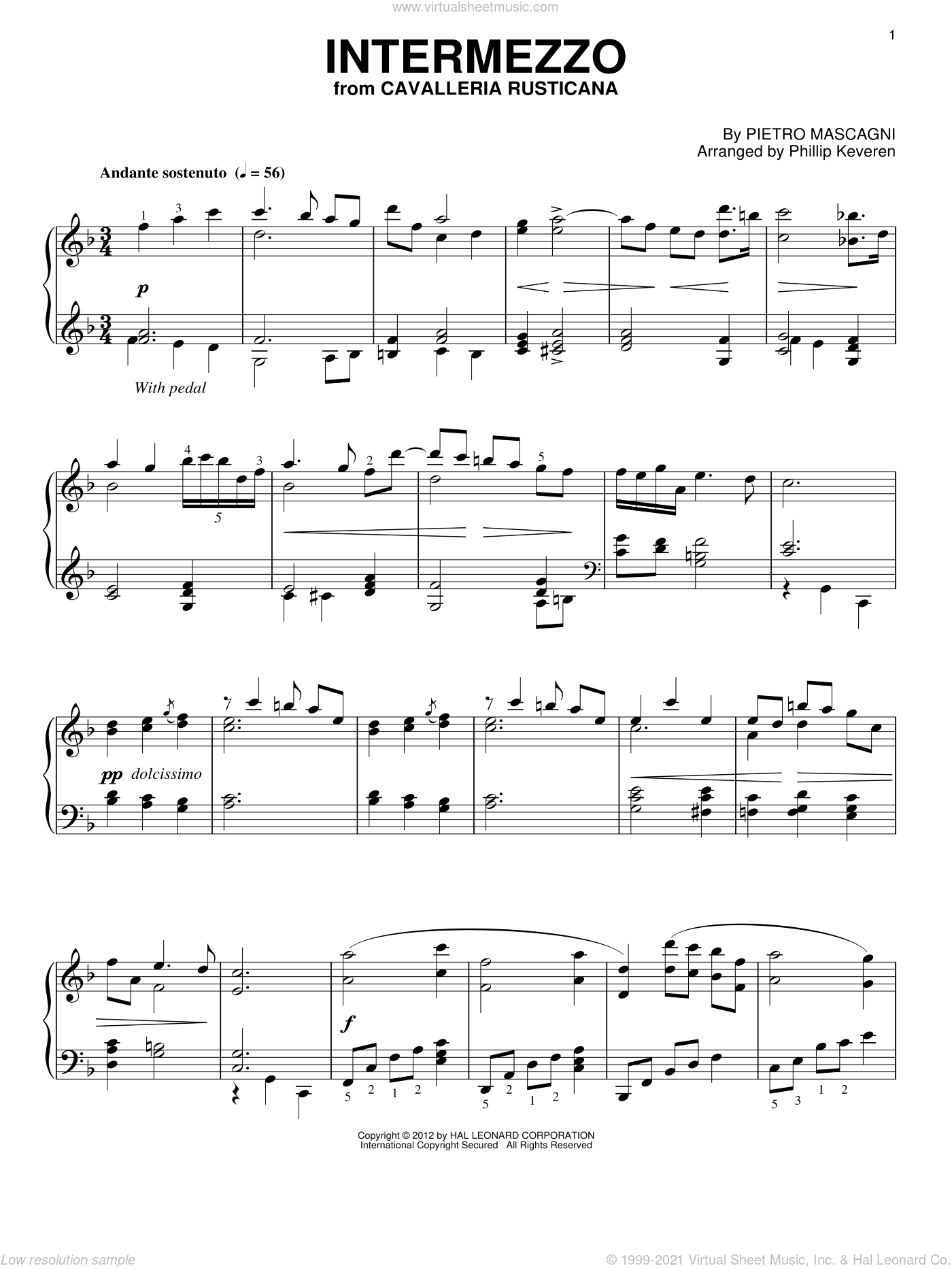 Intermezzo sheet music for piano solo by Pietro Mascagni and Phillip Keveren. Score Image Preview.