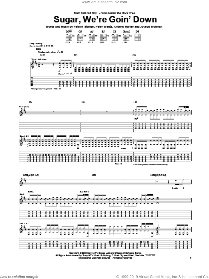 Sugar, We're Goin' Down sheet music for guitar (tablature) by Peter Wentz