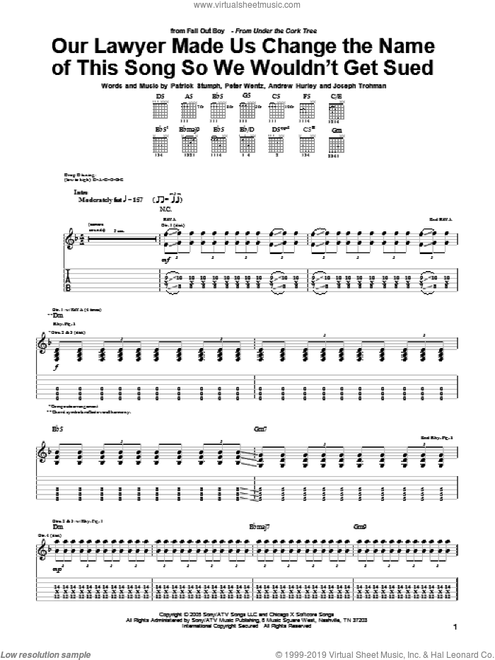 Our Lawyer Made Us Change The Name Of This Song So We Wouldn't Get Sued sheet music for guitar (tablature) by Peter Wentz, Fall Out Boy and Andrew Hurley. Score Image Preview.