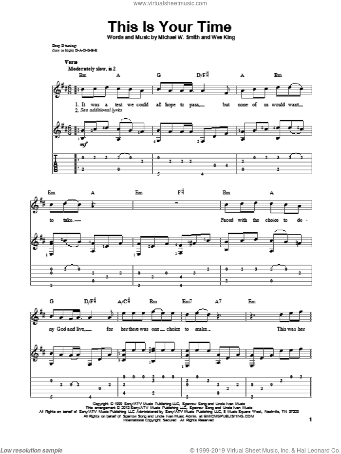 This Is Your Time sheet music for guitar solo by Wes King and Michael W. Smith. Score Image Preview.
