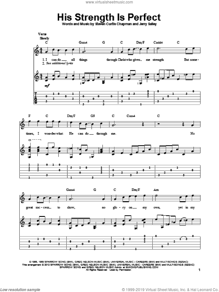 His Strength Is Perfect sheet music for guitar solo by Steven Curtis Chapman and Jerry Salley. Score Image Preview.